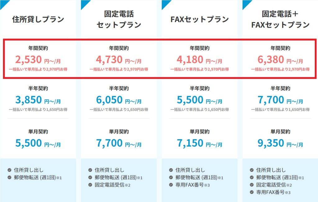 渋谷バーチャルオフィス_DMMバーチャルオフィスの料金プラン