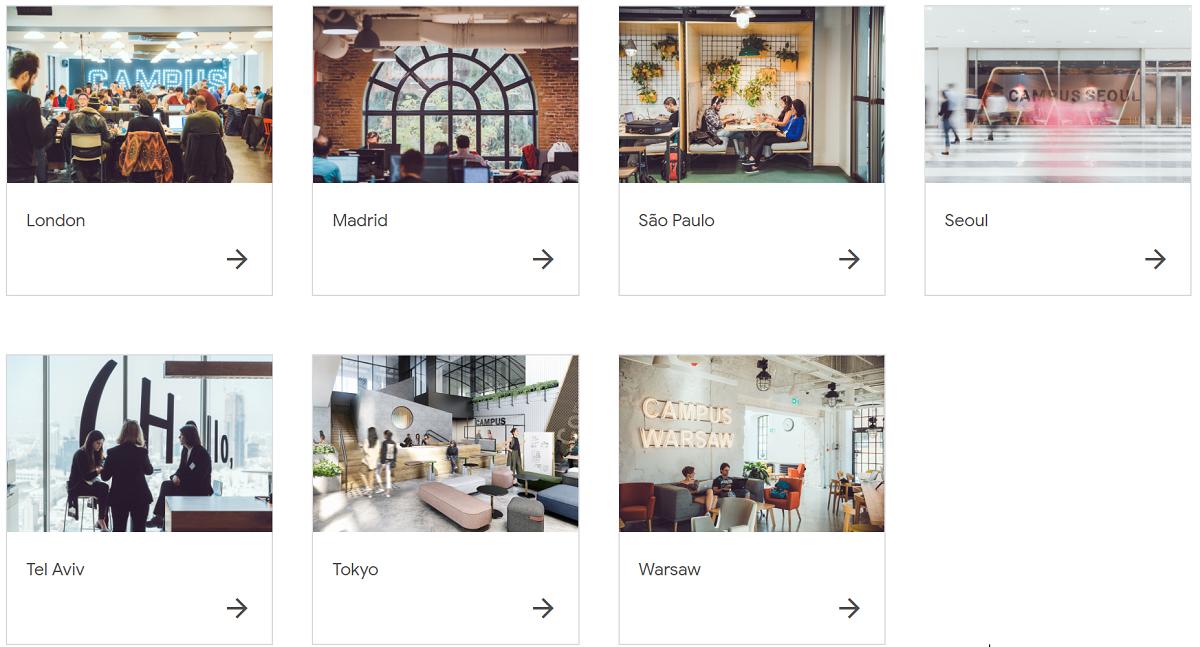 Google for Startups Campus_ロンドン、マドリード、サンパウロ、ソウル、テルアビブ、ワルシャワ