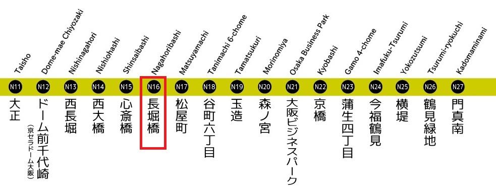 長堀鶴見緑地線 路線図