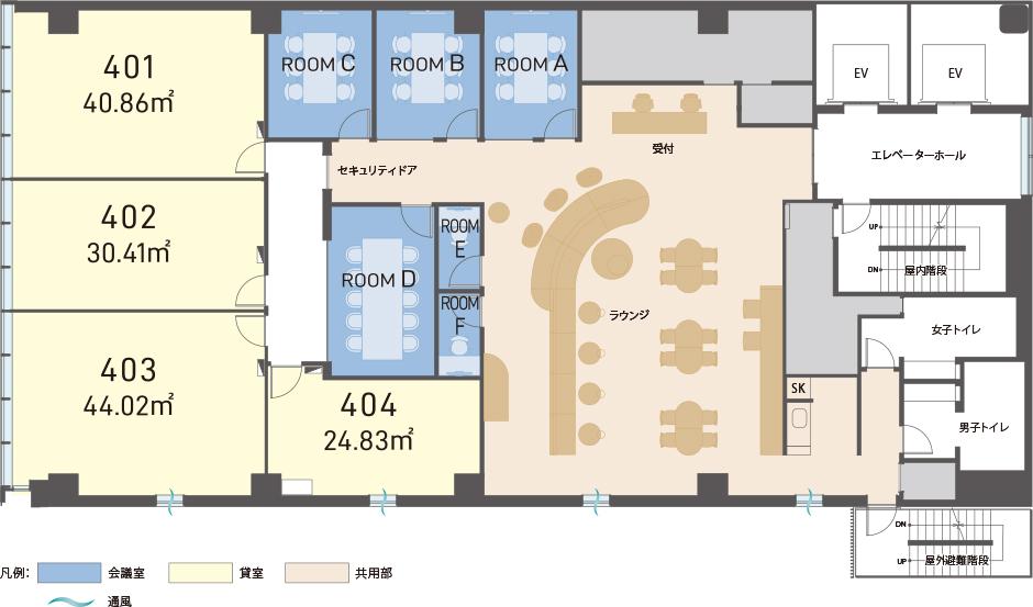 H¹O西新宿の4階フロアプラン