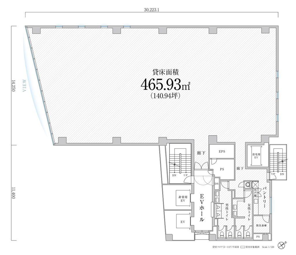 中規模オフィス「PMO麹町」のフロアプラン